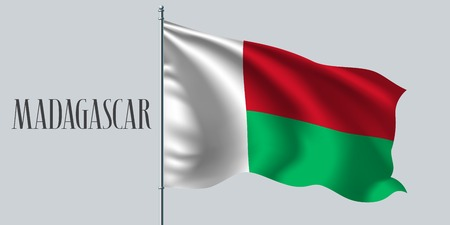 Madagascar waving flag on flagpole vector illustration. Red green element of Malagasy wavy realistic flag as a symbol of country