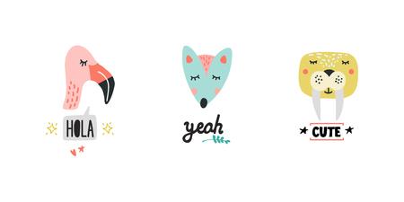 Cute animals heads with speech bubbles vector illustrations. Hand drawn cartoon wild animals