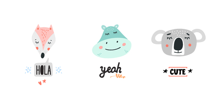Cute animals heads with speech bubbles vector illustrations. Hand drawn cartoon wild animals for baby products Foto de archivo - 112218421