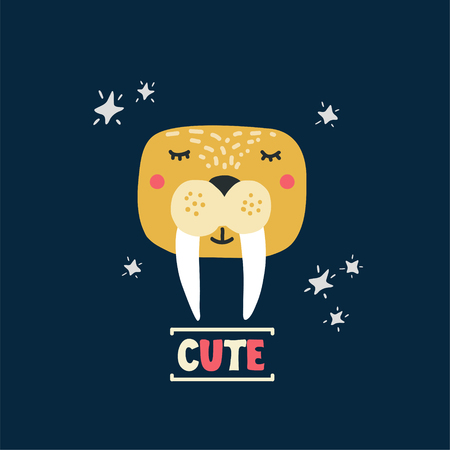 Cute walrus head vector illustration. Design element, clipart for baby products with hand drawn cartoon sea lion drawing with lettering