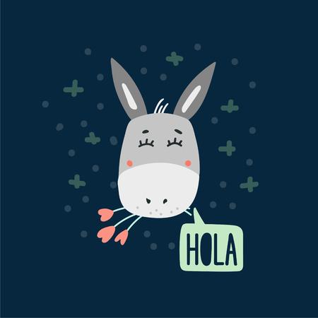 Cute donkey head vector illustration