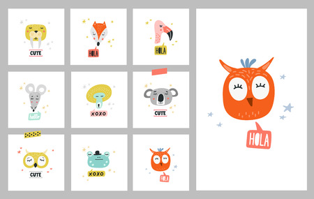 Cute animals set of vector illustrations. Design element, cards with hand drawn heads of wild and forest in cartoon modern style Foto de archivo - 105914139