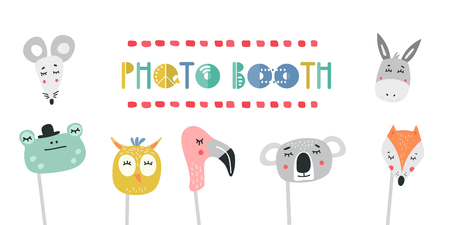 Kids photo booth props set vector illustration. Collection of animals heads, masks for birthday party or event with photobooth shooting Illustration