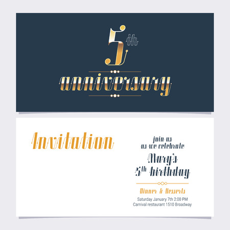 5 years anniversary invitation vector illustration. Design template element with golden number and bodycopy for 5th birthday card, party invite