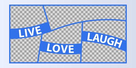 Collage d'illustrations vectorielles de cadres photo, arrière-plan. Signez Live Love Laugh avec un ensemble de cadres photo vides