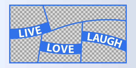 Collage of photo frames vector illustration, background. Sign Live Love Laugh with a set empty photo frames Ilustração