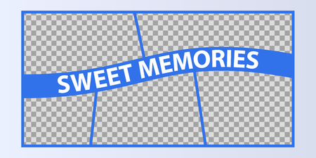 Collage of photo frames vector illustration, background. Sign Sweet memories with a set empty photo frames Çizim