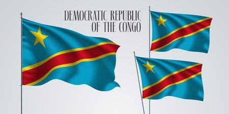 Democratic Republic of the Congo waving flag set of vector illustration. Blue red colors of Congo wavy realistic flag as a patriotic symbol