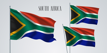 South Africa waving flag set of vector illustration. Blue red stripes of South Africa wavy realistic flag as a patriotic symbol