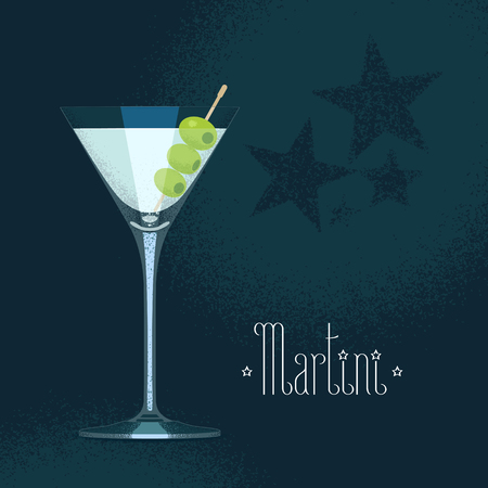 Martini cocktail glass with three olives vector illustration. Poster, design element with traditional martini goblet
