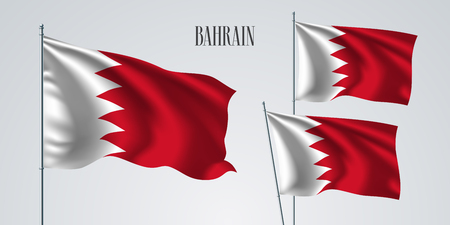 Bahrain waving flag set of vector illustration. White red colors of Bahrain wavy realistic flag as a patriotic symbol