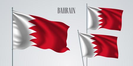 Bahrein ondeando la bandera conjunto de ilustración vectorial. Colores rojos blancos de la bandera realista ondulada de Bahrein como símbolo patriótico