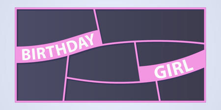 Collage of photo frames vector illustration, background. Sign Birthday girl and set of photo frames for insertion of pictures Illustration