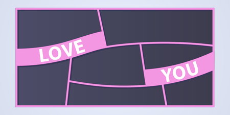 Collage of photo frames vector illustration, background. Sign Love you and set of photo frames for insertion of pictures