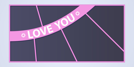Collage of photo frames vector illustration, background. Sign Love you and collection of photo frames for insertion of pictures