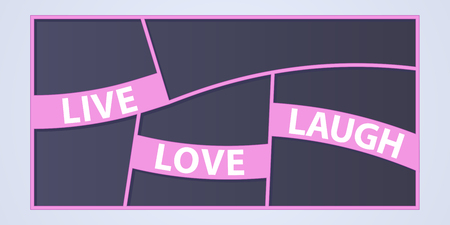 Collage of photo frames vector illustration, background. Sign Live Love Laugh and collection of photo frames for insertion of pictures Ilustração
