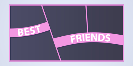Collage of photo frames vector illustration, background. Sign Best friends and collection of photo frames for insertion of pictures