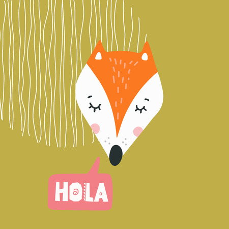Cute fox head vector illustration. Design element, clipart with hand drawn cartoon animal drawing with lettering Foto de archivo - 109876809