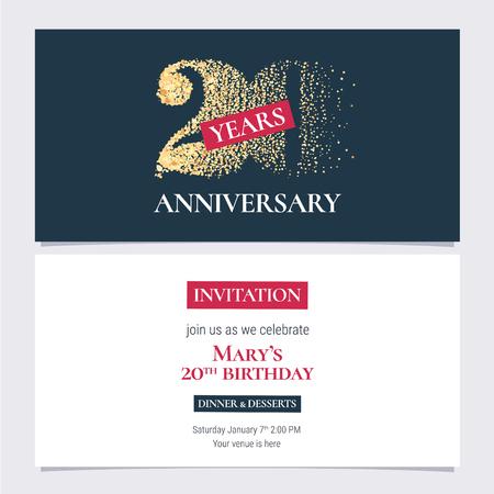 20 years anniversary invitation vector illustration. Design template