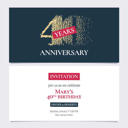 40 years anniversary invitation vector illustration. Design template