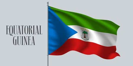 Equatorial Guinea waving flag on flagpole vector illustration. White red design element of wavy realistic flag as a symbol of country