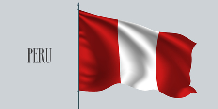 Peru waving flag on flagpole vector illustration. White red design element of Peruvian wavy realistic flag as a symbol of country Illusztráció