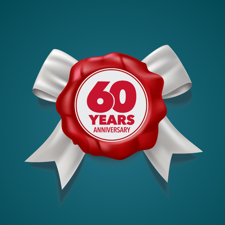 60 years anniversary icon. Template design element, symbol with number and red seal for 60th anniversary greeting card