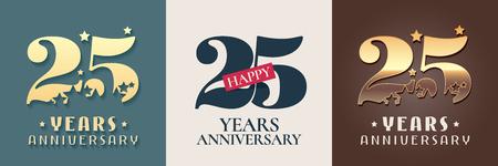 25 years anniversary set icon Ilustración de vector