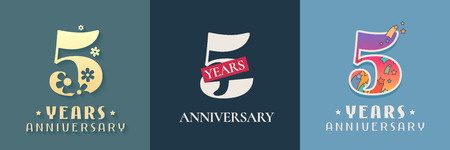 5 years anniversary celebration set. Template graphic design elements for 5th anniversary card