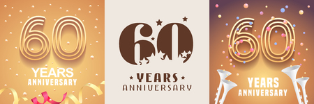 60 years anniversary set. Graphic design element with festive golden background for 60th anniversary