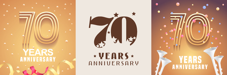 70 years anniversary set. Graphic design element with festive golden background for 70th anniversary