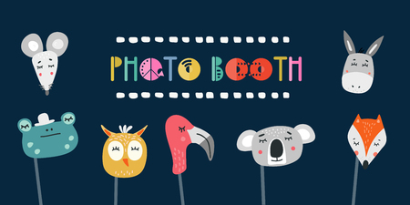 Kids photo booth props set vector illustration. Collection of animals masks for birthday party or event with photobooth shooting Vectores
