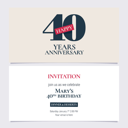 40 years anniversary invitation illustration. Graphic design template 向量圖像