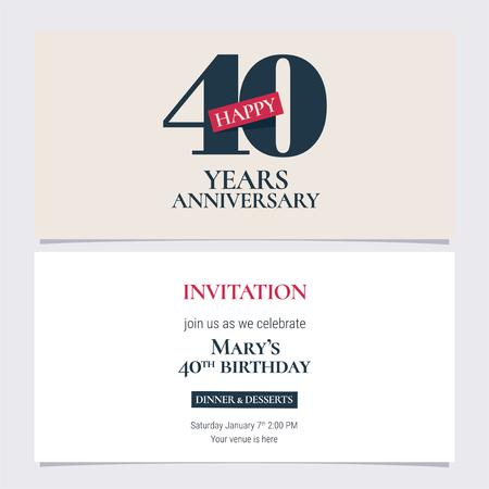 40 years anniversary invitation illustration. Graphic design template Illustration