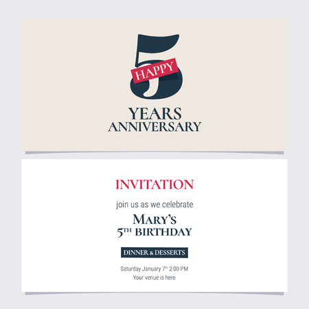5 years anniversary invitation illustration. Graphic design template