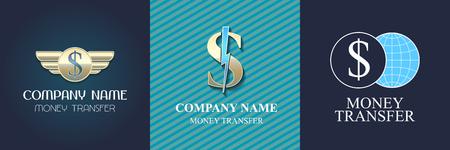 Money transfer set design Illustration