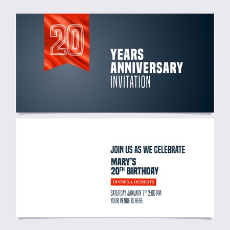 20 years anniversary invitation illustration. Template design element