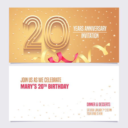 20 years anniversary invitation vector illustration. Design element with golden abstract background for 20th birthday card, party invite