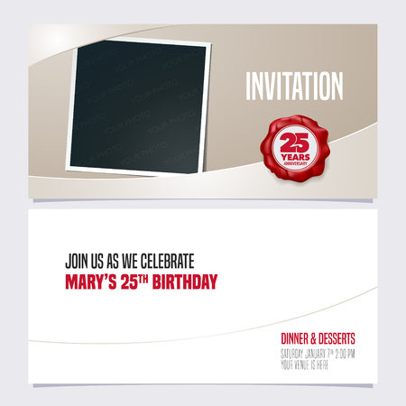 25 years anniversary invitation vector illustration. Graphic design template
