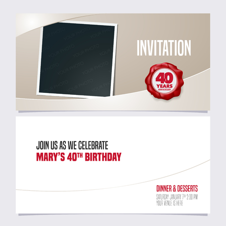 40 years anniversary invitation vector illustration. Graphic design template