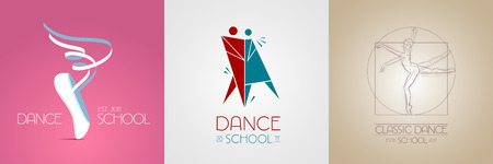 Dance studio vector logo, icon set. Template design element Vectores