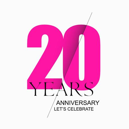 20 years anniversary vector icon, logo. Design element
