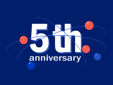 5 years anniversary celebration vector icon, logo. Template abstract design element for 5th anniversary greeting card Stock Vector - 114082943