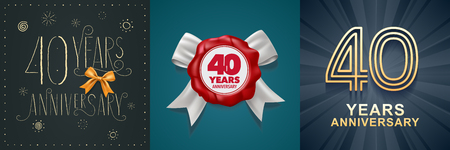 40 years anniversary celebration set of vector icons, logo