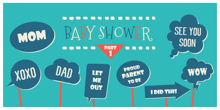 Baby shower photo booth props vector elements. Speech bubbles with funny phrases for it is a boy shower photobooth party Illustration