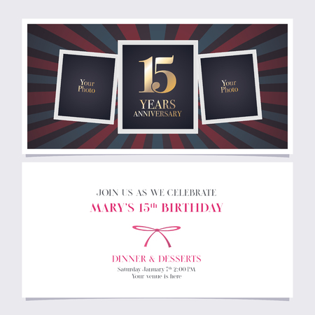 15 years anniversary invitation vector illustration. Graphic design element Illustration