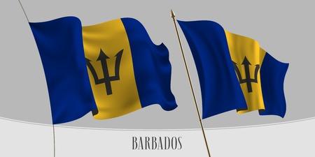 Ensemble de la Barbade agitant le drapeau sur l'illustration vectorielle de fond isolé. Couleurs bleues et jaunes du drapeau réaliste ondulé de la Barbade comme symbole patriotique
