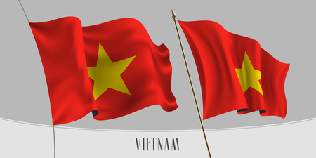 Set of Vietnam waving flag on isolated background vector illustration. Red, yellow elements of Vietnamese wavy realistic flag as a patriotic symbol