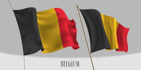 Set of Belgium waving flag on isolated background vector illustration. Red, yellow black stripes of Belgian wavy realistic flag as a patriotic symbol