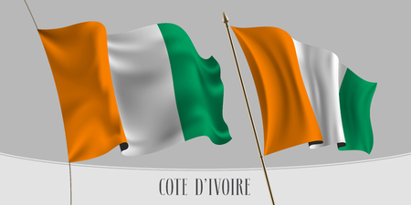 Set of Cote D'ivoire waving flag on isolated background vector illustration. Orange green colors of Cote Divoire wavy realistic flag as a patriotic symbol Illusztráció